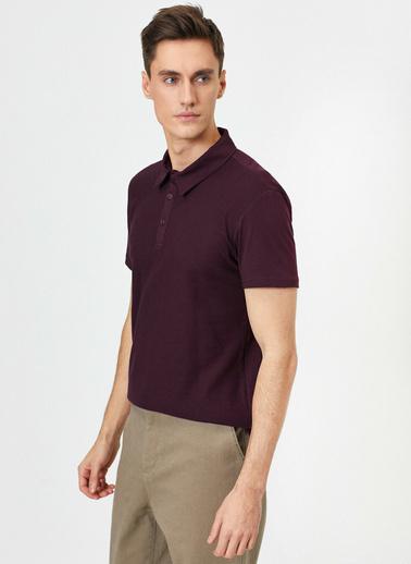 Koton Polo Yaka Dokulu Kumas Slim Fit T-Shirt Mor
